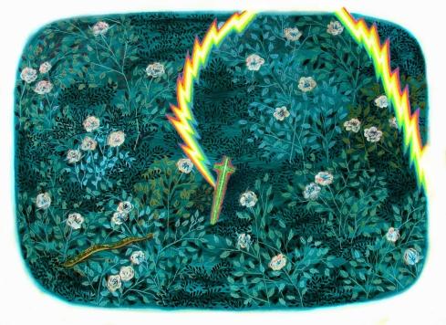 Espada en el jardin Huile sur toile 140cm x 180cm