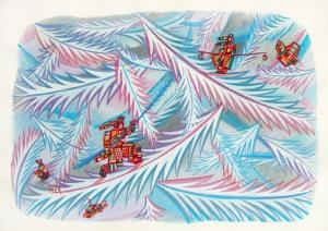 Hombres del hielo Acrylique sur papier 50cm x 65cm
