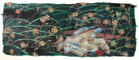 La robe qui parle avec les fleurs Acrylique et huile sur toile 130cm x 200cm