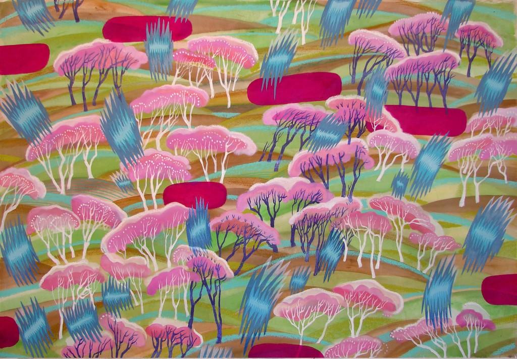 Lluvia de primavera Acrylique et huile sur toile 140cm x 180cm