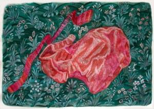 Manteau rouge acrylique sur papier 50cm x 65cm