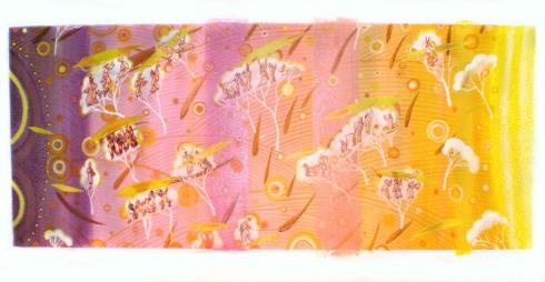 Procesión de otoño Acrylique et huile sur toile 120cm x 180cm