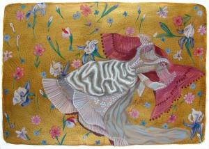 Robe dorée acrylique sur papier 50cm x 65cm