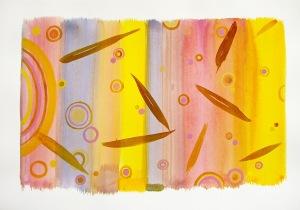 Tissu de septembre technique mixte sur papier 50cm x 65cm