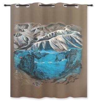 Convoi - Acrylique et craie, rideau - 180cm x 150cm