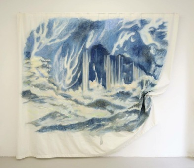 Off-shore - Acrylique et encre , rideau. 280cm x 180cm